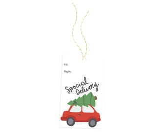 Special Delivery Gift Tag, Christmas Tree Illustration