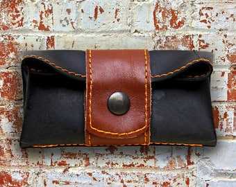 Brown leather man wallet and recycled inner tube.