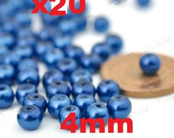 20 beads glass Pearl 4mm blue color ref5