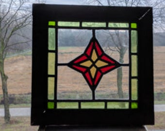 window stained glass with star motif