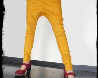 """LoOk"": yellow corduroy slim harem pants"