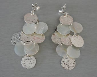 Sterling Silver and mother of pearl earrings very original