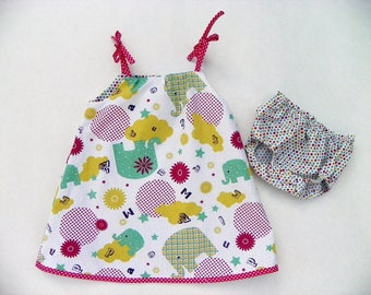 "Dress baby girl cotton ""Next to the elephants""."