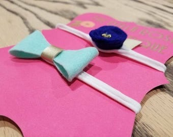 Set of 2 Rose and Bow Headbands