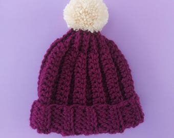 Dark Purple Beanie Hat