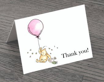 Set of Classic Winnie The Pooh With Pink Balloon Thank You Cards & Envelopes White Background