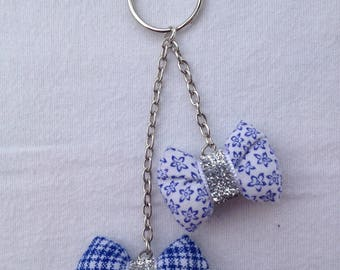 DOOR keys jewelry bag with 2 bows and chains, blue and white