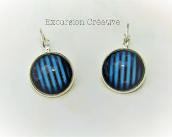 Earrings sleepers cabochons 18 mm blue striped patterns