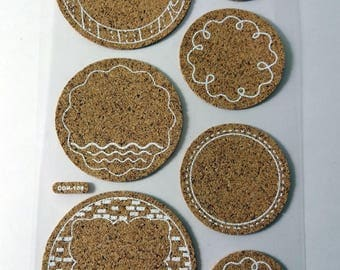 Cork - 7 stickers - embellishments - scrapbooking stickers