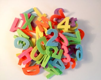 Letters and numbers felt multicolored x 70 - children-Decoration activities