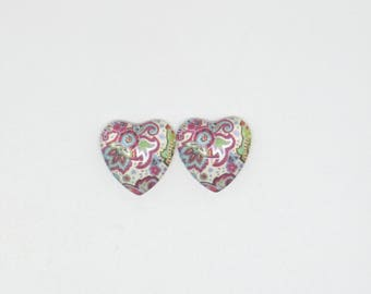 Set of 2 Cabochon heart and flowers