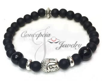 Black Matte Stone and Silver Buddha Head Bracelet