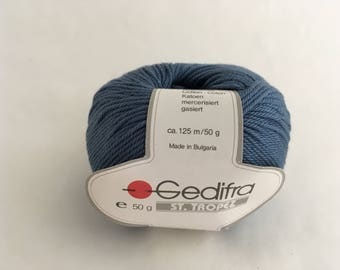 2 Balls Vintage Gedifra ST TROPEZ Cotton Yarn- Sport - Blue  - 50gr - Bulgaria