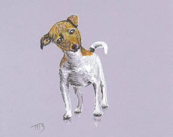 Drawing of a puppy on a grey background