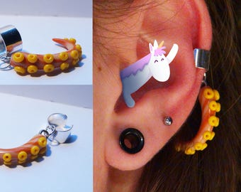 orange and yellow polymer clay tentacle ear