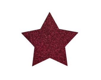 5 X 4.8 cm Burgundy glittery star fusible pattern
