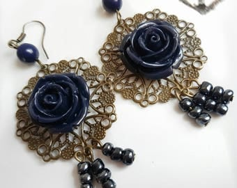 "Chandelier earrings ""Night Rose""-Bronze-earrings-hippie-earrings-Coachella-Boho-Resin-Flower"