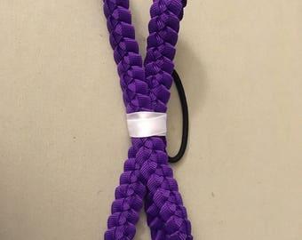 Purple Ribbon Lei Hair Bow