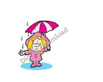 Girl in the Rain Cartoon Print - digital download