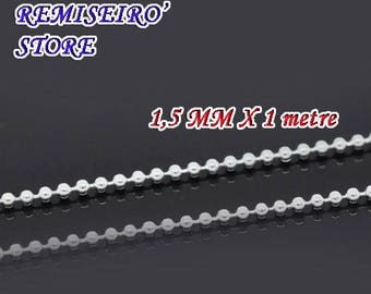 1m silver 1.5mm ball chain with clasp