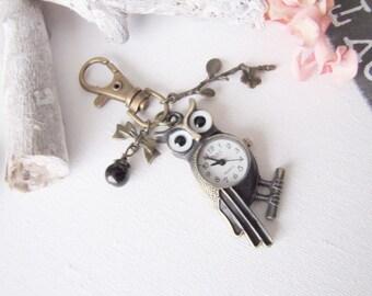 ♥ ♥ Bag Metal Bronze OWL bow branch black glass bead jewelry watch