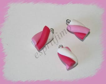 """Pink Marshmallow"" charm in polymer clay"