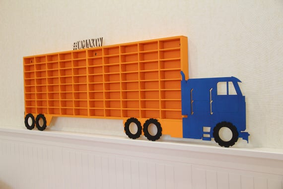 Wooden Toy Car Shelf : Hot wheels boys wood truck display case toy matchbox storage