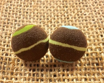 Line Up - Fabric Button Earrings