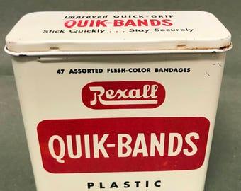 Vintage Rexall Quik-Bands Tin