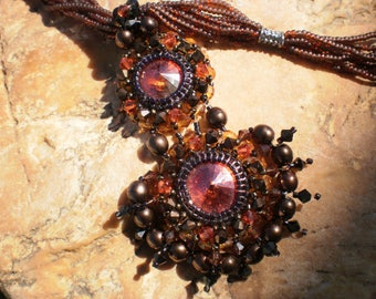 Necklace style romantic Swarovski Crystal and seed beads