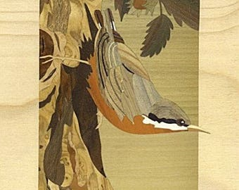 """""""sitelle nuthatches"""" inlaid, marquetry art, made in France"""