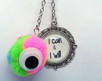 Handmade Gift Ideas Fluffy Colourful Positive PomPom Quote Keyring