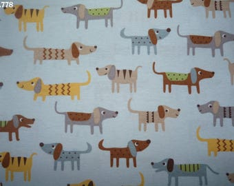 Fabric C778 dogs on blue coupon 34x50cm