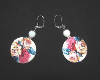 Flowers on Pearl Earrings