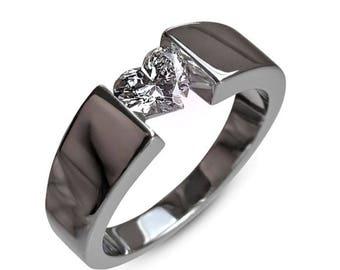 Diamond Engagement Ring, Heart cut Engagement Ring, 18K White Gold Ring