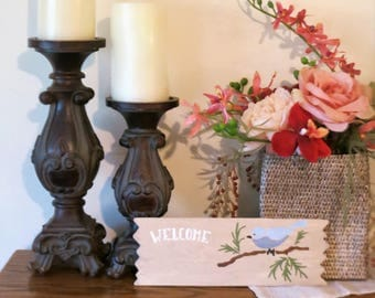 Welcome Sign, Ready To Ship, Hand Painted Sign, Welcome, Bird Sign