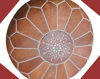 MOROCCAN POUF POUFFE  ottoman genuine leather cover footstools handmade