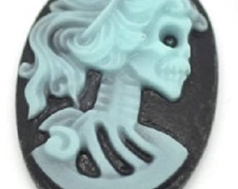 Set of 2 cameo skeleton cabochon resin 25 x 18 mm