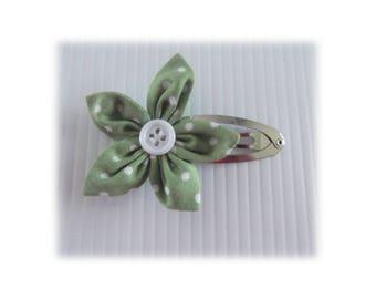 BARRETTE HAIR CLIP FLOWER LILAC GREEN PEAS