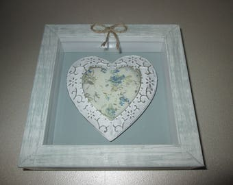 Frame 3D with white metal heart and blue paint distressed cottage green pattern fabric