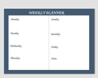 minimal weekly planner, one page printable ,minimal blue ,a4