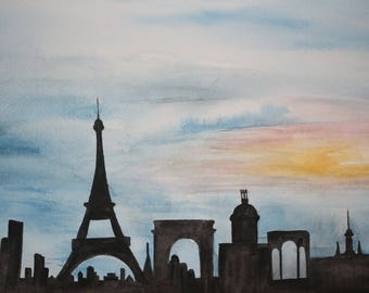 original watercolor painting paris skyline