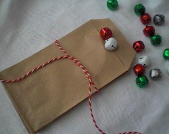 12 mini beige kraft paper bags
