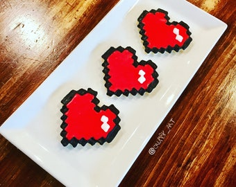 8 bit heart / minecraft cookie/cupcake toppers