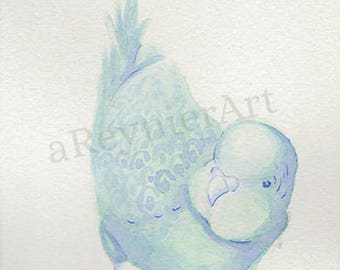 original illustration, chubby little bird series (2/2) 10 X 15 cm