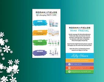 Rodan and Fields Business Cards,  Rodan and Fields Mini Facial Card, Fast Personalized, Modern Business Cards RF04