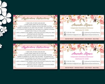 LipSense Application Cards, LipSense Application Instructions, LipSense How to Apply, LipSense Business Cards, Digital Files LS01