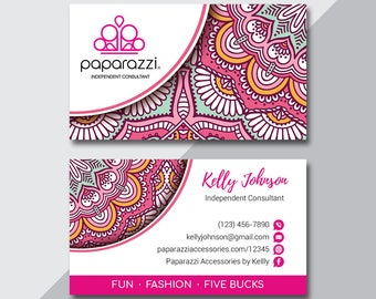 Paparazzi Business Card, Custom Paparazzi Accessories Business Card, Back Office Logo, Fast Free Personalization, Modern Business Card PZ02