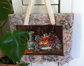 Tapestry and died natural canvas tote bag