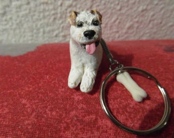 "Doggie ""fox terrier"" keychain made of cold porcelain"